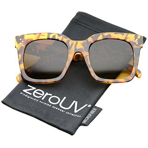Tortoise Glass Amber Shiny (zeroUV - Bold Oversize Tinted Flat Lens Square Frame Horn Rimmed Sunglasses 50mm (Shiny Tortoise/Amber))