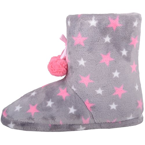 Absolute Footwear Womens Soft Faux Fur Bootie Slippers/Shoes with Star and Pom Pom Design Grey F0DZRG6ar