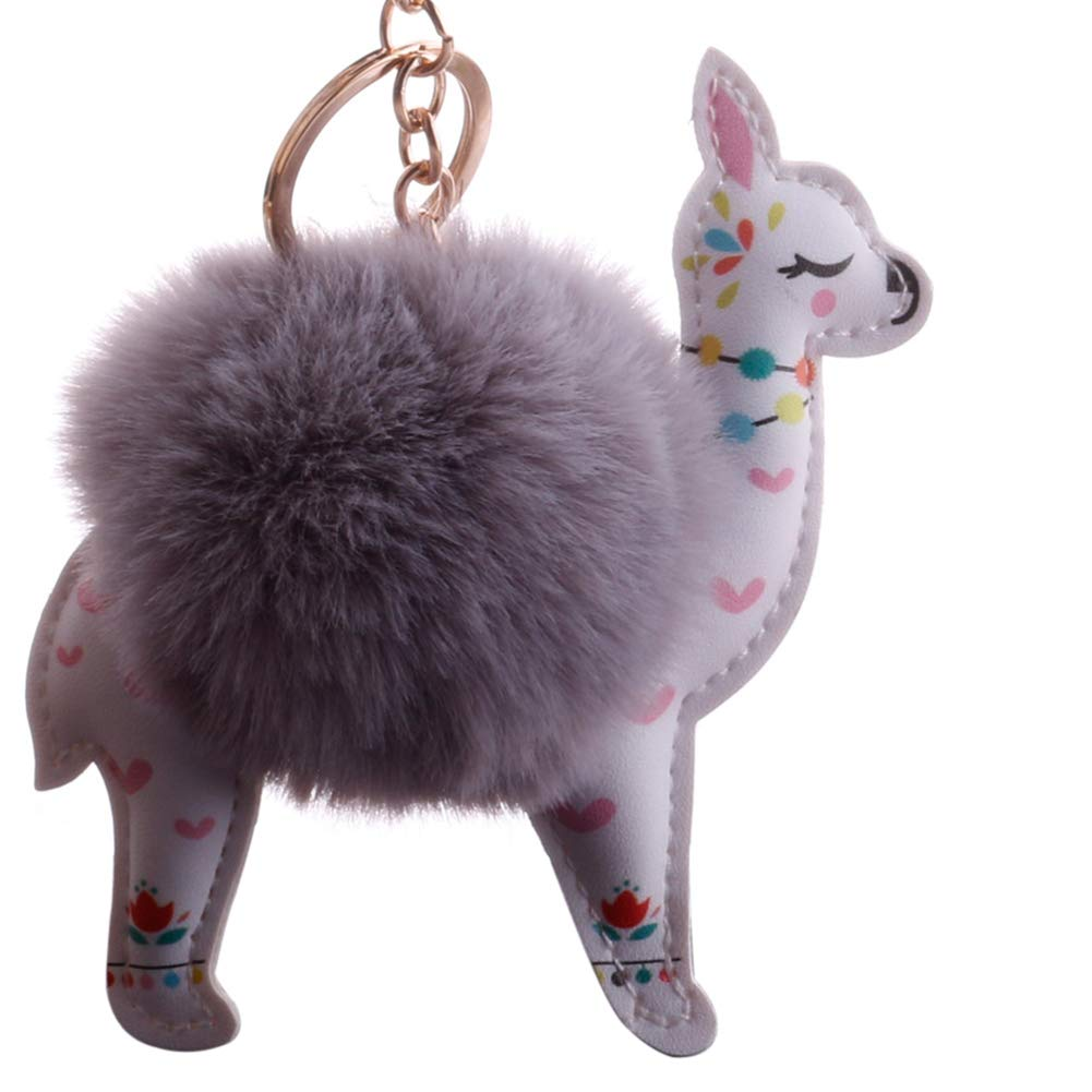 Slendima Lovely Sika Deer Fluffy Ball Keyring Car Key Chain Handbag Hanging Decor Gift Light Gray