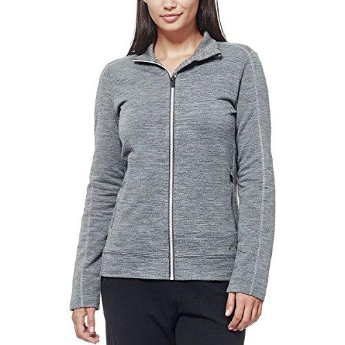 Icebreaker Womens Sweater - Icebreaker Merino Women's Dia Long Sleeve Zip Sweater, Snow/Gritstone Heather, Medium