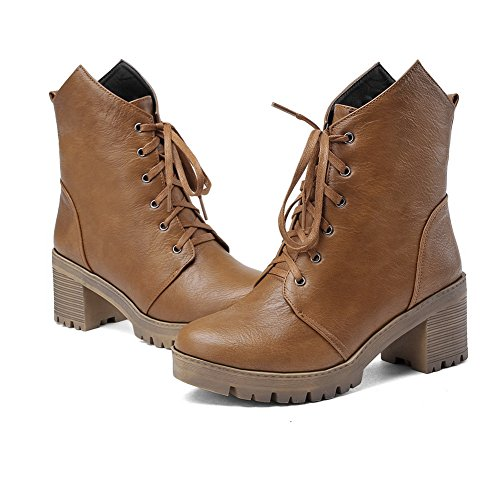 AdeeSu Girls Bandage Chunky Heels Platform Imitated Leather Boots Yellow hjdSh
