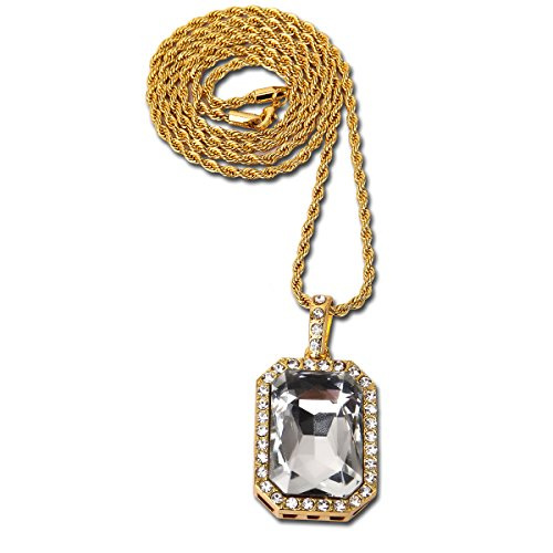 Big Twist Pendant - MADY Hip Hop Rapper Necklace 18K Gold Plated Big Square Ruby CZ Zinc Alloy Pendant (Transparent, 3mm Twist chain)