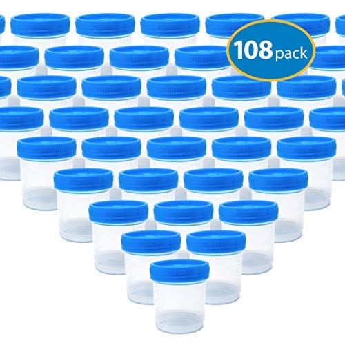 Urine Specimen Collection Cups with Lids, 90ml Bulk Order (108 Pack)