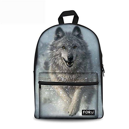 FOR U DESIGNS 3D Wolf Face Boys Backpack Kids School Book Bag Travel Bagpack