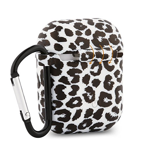 Baaletc Silicone Protective Cover Case Metal Keychain Apple AirPods(Leopard Prints)