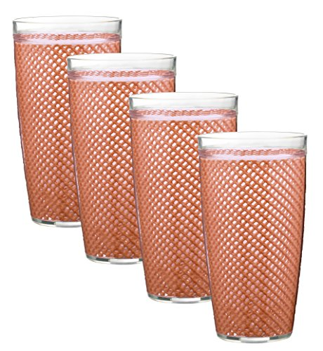 Collection Fishnet (Kraftware the Fishnet Collection Orchid Doublewall Drinkware, Set of 4, 22 oz, Pink/35524)