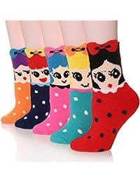 Women 5 Pairs Pack Super Soft Cozy Fuzzy Cute Winter Socks