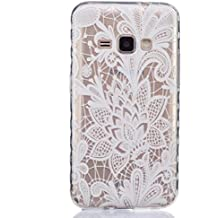 Samsung J210F Case, Haoshi Anti-slip Back Case Painted Transparent Shell [Flexible TPU] Clear Skin for Samsung Galaxy J210F 2016 Release (White Rose)