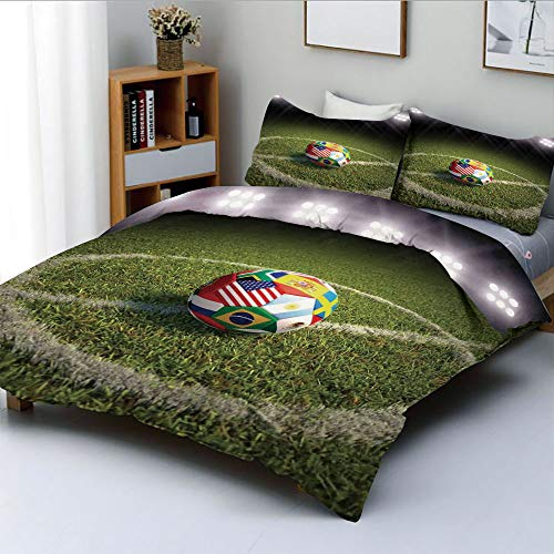 - Duplex Print Duvet Cover Set Twin Size,A Soccer Ball on a Soccer Field Printed Flags of The Participating CountriesDecorative 3 Piece Bedding Set with 2 Pillow Sham,Best Gift for Kids & Adult