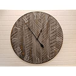 Large Wall Clock – 42 Inch Diameter – Rustic Grey Wooden Clock by Yankee Woodworks