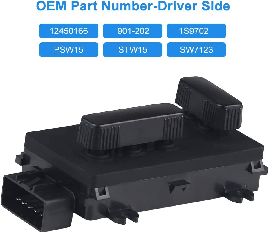 WMPHE Compatible with Power Seat Switch Driver Side Adjust Recliner Switch Compatible with GMC Sierra Yukon 2000-2006 Cadillac 2002-2006 Hummer H2 2003-2007 Replace OE12450166 901-202