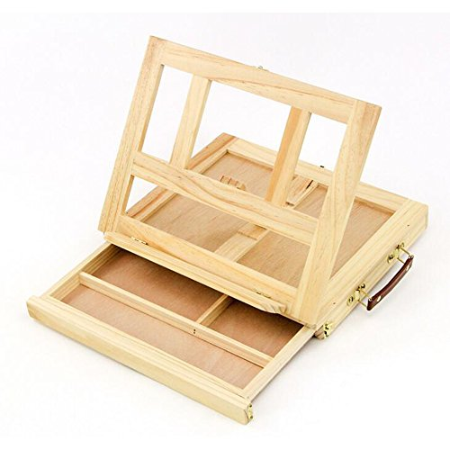 RuiXiang Desktop Table Drawer Easel Sketchpad,Pen Box Wooden Folded Frame,Sketching Sketch Holder Craft Art by RuiXiang