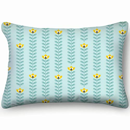 X-Large Retro Floral Pattern Scandinavian Nature Queen Rectangle Decorative Pillowcases Print Zippered Throw Pillow Covers Cases Two Sided 20 X 26 Inch