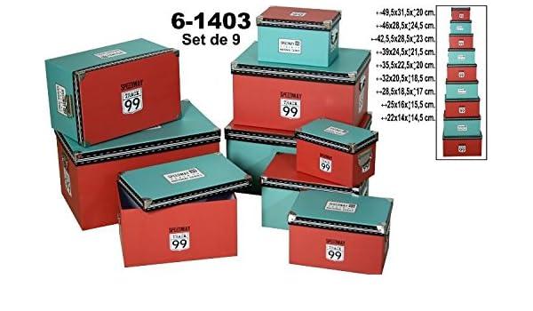 DRW Set 9 Cajas de cartón Decorada Colores.con Esquinas y Asas cromadas 49,5x31,5x20cm Grande: Amazon.es: Hogar