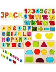 Wooden Puzzles for Toddlers, Voamuw Alphabet Number Shape Learning Puzzle for Kids Ages 3 4 5, Montessori Toys Preschool Education Gift Chunky Jigsaw for Boys and Girls