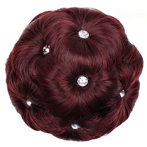 VICCKI Female Wig Hair Ring Curly Bride Makeup Diamond Bun Flowers Chignon Hairpiece Red