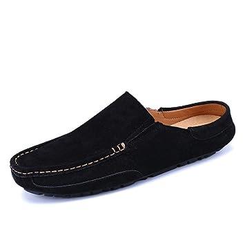 FuweiEncore Zapatillas Mocasines para Hombres, Zapatillas Mocasines de Cuero Genuino para Hombres Zapatillas sin Cordones Mulas deslizables en Barco (Color: ...