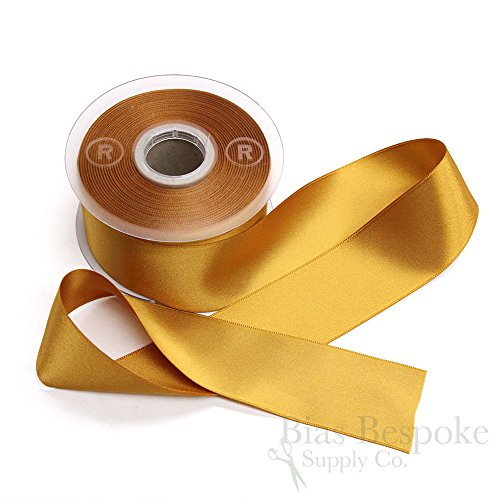 LUCIA 40mm Italian Double Faced Satin Ribbon, 20 Meter Roll, Golden Amber