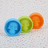 Yunko Set of 3 Halloween Silicone Mold Skull Ice Cube Chocolate Candy Soap Mold