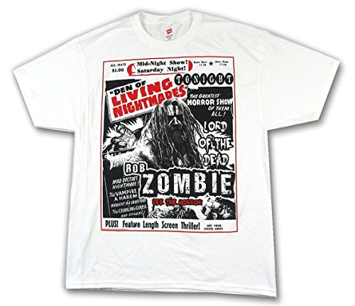 Rob Zombie Den of Living Nightmares White T Shirt (2X)