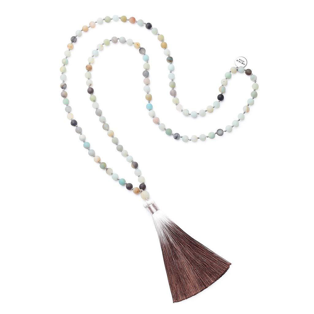OKIKO 108 Mala Beads Necklace Tassel Long Chain Boho Statement for Women Yoga Meditation Gemstone Amazonite