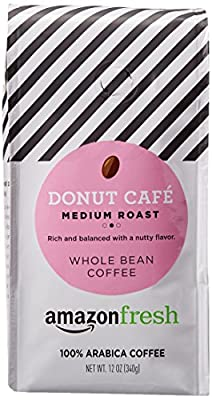 AmazonFresh Donut Cafe Whole Bean Coffee, Medium Roast, 12 Ounce from AFS Brands LLC