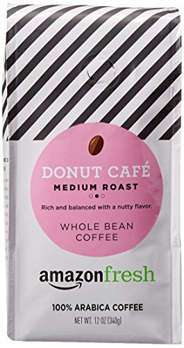 AmazonFresh Donut Cafe Whole Bean Coffee, Medium Roast, 12 Ounce