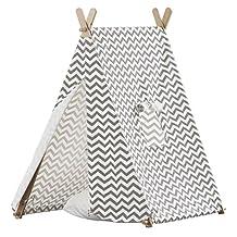 turtleplay TPE0292214010 Indoor Kid's Tent, Grey & White ZigZag