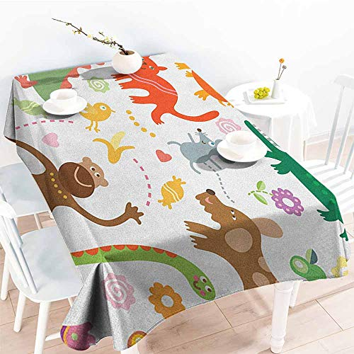 Willsd Resistant Table Cover,Boys Jolly Cartoon Animals Colorful Flowers and Hearts for Cheerful Babies and Children,Party Decorations Table Cover Cloth,W54x72L Multicolor