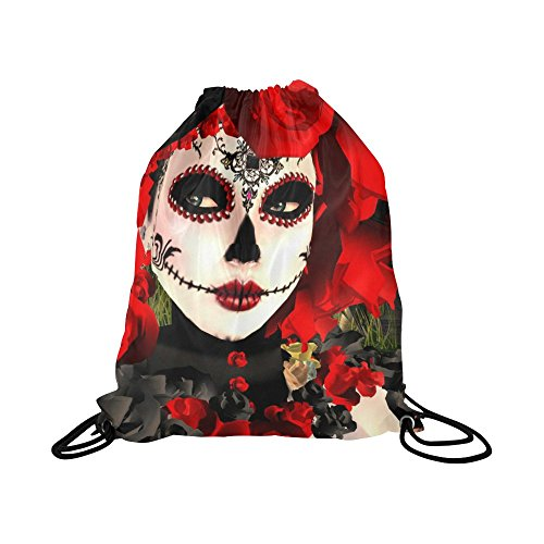 - Artsadd Unique Debora Custom Drawstring Bag String Backpack for Unisex Sugar Skull Flower Day Of The Dead