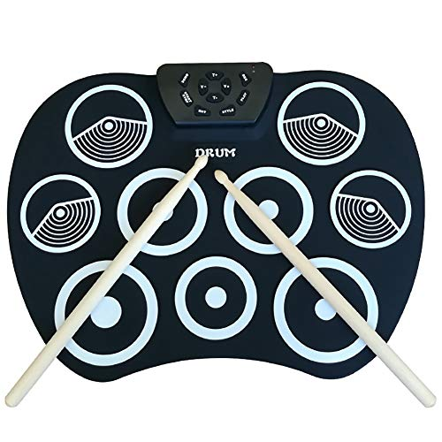 NUYI Hand Roll Electronic Drum Ultra-Thin Portable Jazz Drum Kit with Bottom Drum Step On Foot Pedal Children Practice,Yellow
