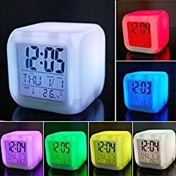 vinmax Digital Alarm Thermometer Night Glowing Cube 7 Colors Clock LED Change LCD Bedroom Child