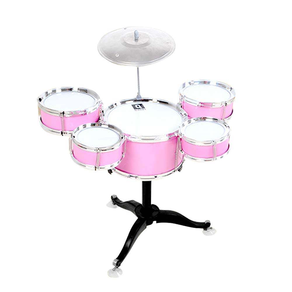 QIAOWA Drum Set for Kids Toy Jazz Drum Early Educational Musical Instrument 5 Drums (Pink)