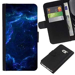All Phone Most Case / Oferta Especial Cáscara Funda de cuero Monedero Cubierta de proteccion Caso / Wallet Case for Samsung Galaxy S6 EDGE // Nebula Galaxy Stardust Blue Universe Gas