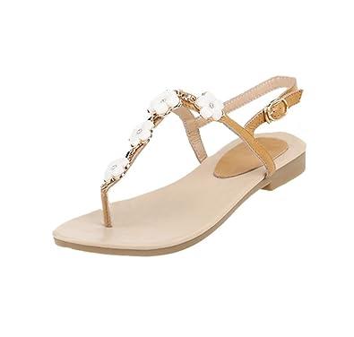 Mee Shoes Damen süß bequem modern Schnalle flach ankle wrap Slingback mit Blümchen t-strap Zehentrenner (34, Gelb)