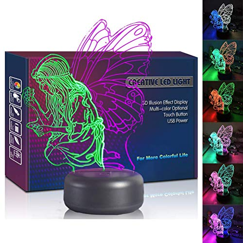 Butterfly Angel LED 3D Fairy Girl Wing Lamp USB Multi Color Optical Night Light Christmas Present Birthday Gift Lighting Toys for Girl Girlfriend Women Bedroom Decoration Room Decor (Butterfly - Lamp Fairy Butterfly
