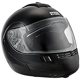 Studds NINJA 3G Flip Up Full Face Helmet with Double Visor(Matt Black, L)