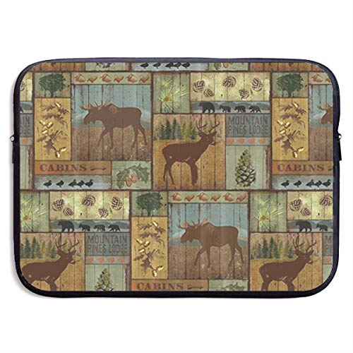 Nature Rustic Mountain Pines Lodge Bear Laptop Sleeve Tote Bag Waterproof Soft Carrying Case Cover Bag for 15 Inch Computer -