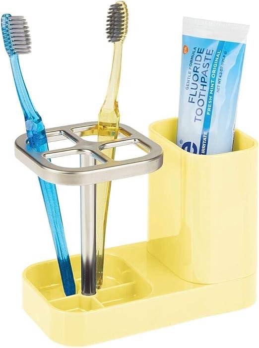 range brosse /à dents et dentifrice mDesign porte brosse /à dent bleu//a support brosse de qualit/é en plastique avec des parties chrom/ées pour l/'/évier ou l/'armoire de salle de bain