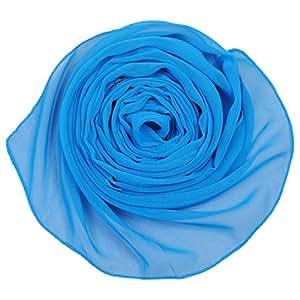 Fashion Women's Long Chiffon Shawl Soft Summer Scarves Ladies Beach Scarf (Blue)