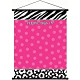 pink and zebra party streamers - Zebra Party Sign In Scroll Decoration