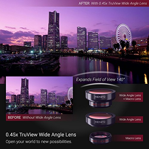 Xenvo iPhone Camera Lens Kit Pro – Macro Lens & Wide Angle Lens with LED Light, Clip-On Cell Phone Camera Lenses for iPhone, Android, Samsung Mobile Phones and Tablets