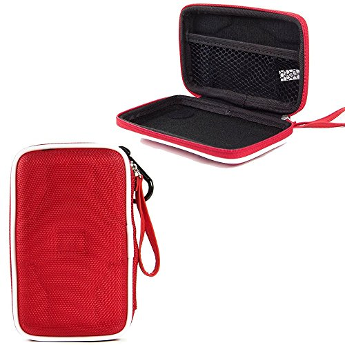 Wrls Media - Kingston Digital USB 3.0 Hi-Speed Media Reader (FCR-HS4) Premium Semi Hard EVA Compact Portable Hard Drive Case (Red)