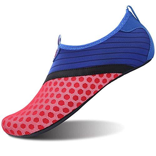 Barerun Barfuß Quick-Dry Wasser Sportschuhe Aqua Socken für Schwimmen Beach Pool Surf Yoga für Frauen Männer Blau Rot