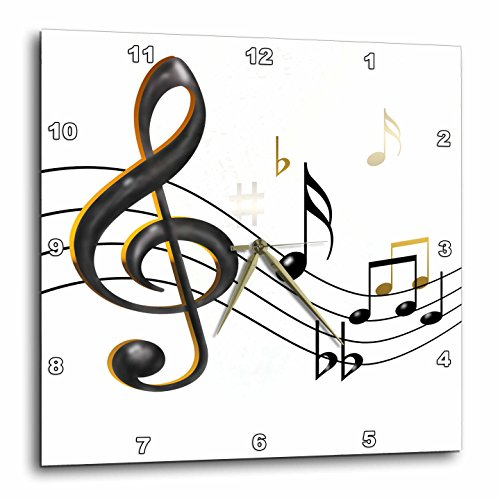 3dRose dpp_55502_1 Music Notes Clef, Sixteenth, Quarter Notes, Beamed Notes, Flats and Sharps in Black and Gold Wall Clock, 10 by 10-Inch (Music Quarter Note Notes)