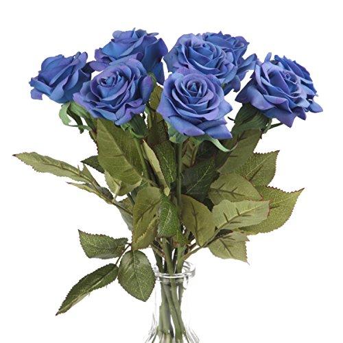Silk Rose 17 Artificial Flowers As Natural -Louis Garden (3, Blue)