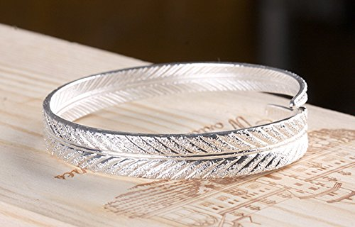 MIXIA Silver Colour Bracelet Female Retro Fashion Angel Feather Bracelet Adjustable Open Cuff Leaf Bracelet
