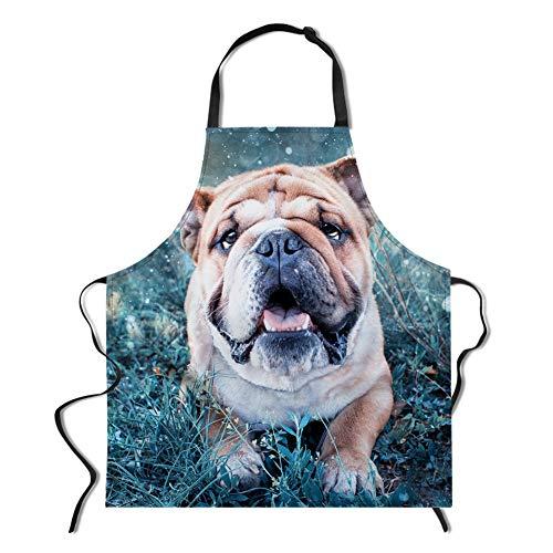 Apron Dog Print, Adjustable Bib Apron for Men&Women Kitchen Apron for Cooking Baking Gardening Parties, Perfect Gifts, Bulldog Print