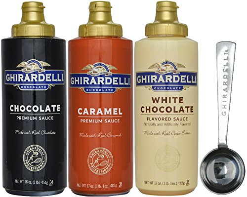 Ghirardelli - 16 oz Chocolate, 17 oz White Chocolate Flavored, 17 oz Caramel Sauce Squeeze Bottle - Set of 3 - with Limited Edition 1.5 tbsp Measuring Spoon