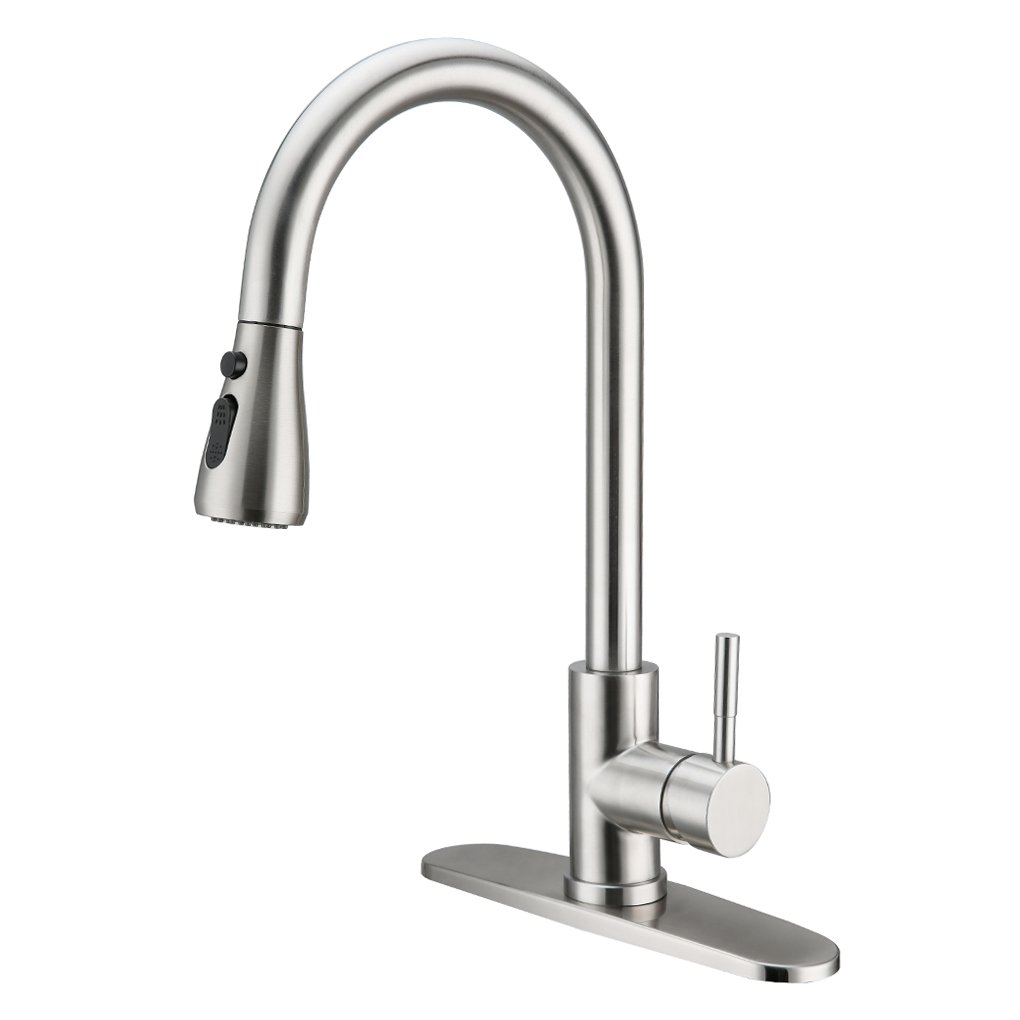 Charmingwater Single Handle Kitchen Sink Faucet, Pull out High Arc Brushed Nickel and Single Level Stainless Steel with Pull down Sprayer with Cover Plate, 2 Modes, Upgrade Version